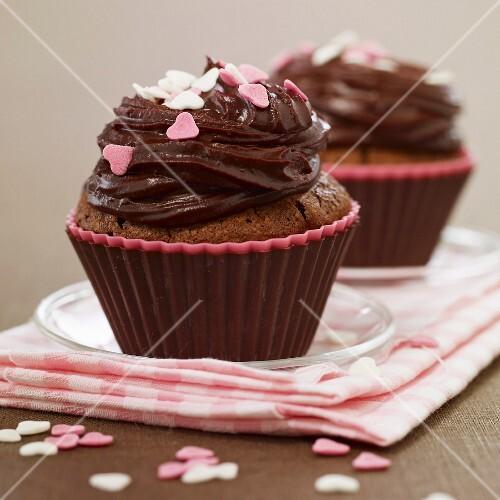 Valentine's day chocolate cupcakes