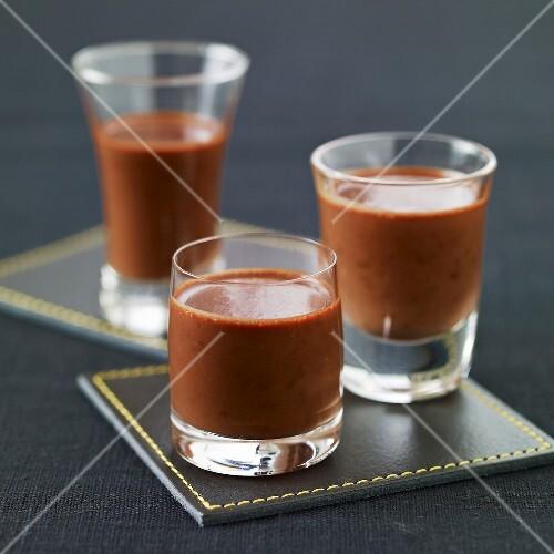 drei gl schen schokoladen kaffee creme bild kaufen 60176506 stockfood. Black Bedroom Furniture Sets. Home Design Ideas