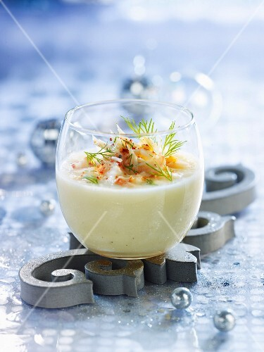 Cream of white asparagus soup with flaked king crab meat