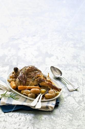 Gigot de 7 heures,potatoes and carrots