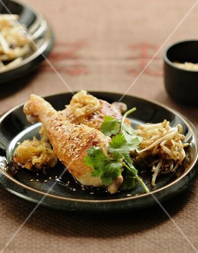 Roast chicken legs with sesame seeds