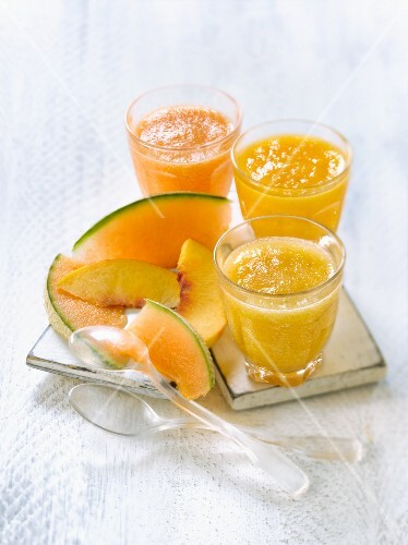 Assorted summer fruit chilled soups : melon,peach and apricot