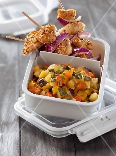 Cold ratatouille,chicken brochettes with mild spices
