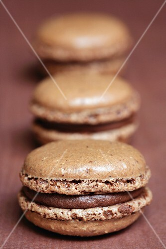 Chocolate and nougatine macaroons