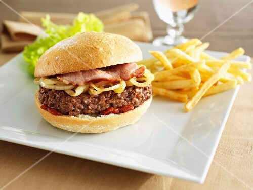 Hamburger with bacon