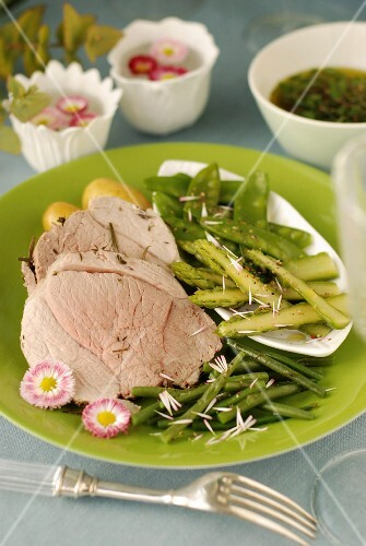 Plate of shoulder of lamb cooked with herbs in a cloth