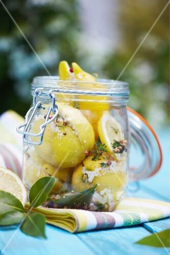 Jar of confit citrus with salt