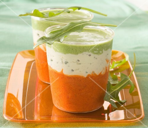 Pureed orange bell pepper,Saint-Agur and cream of rocket lettuce Verrine