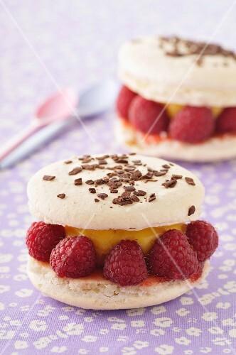 White chocolate and raspberry macaroons