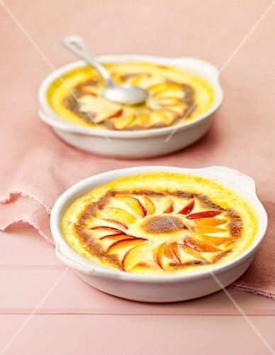 Individual peach gratins