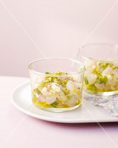 Fish and pistachio pesto