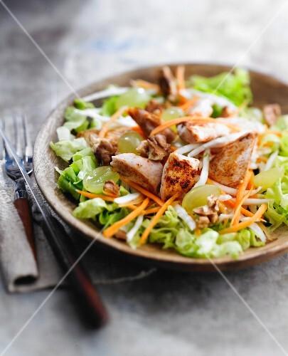 Chicken,grape and walnut salad