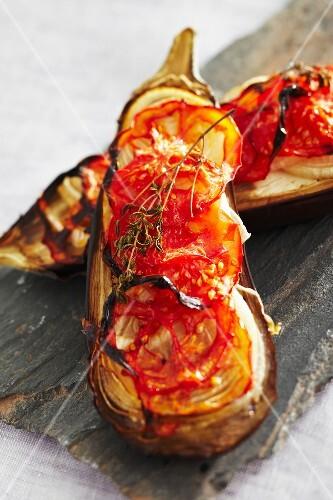 Roasted eggplants with tomatoes