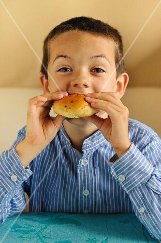 Young boy eating a bun