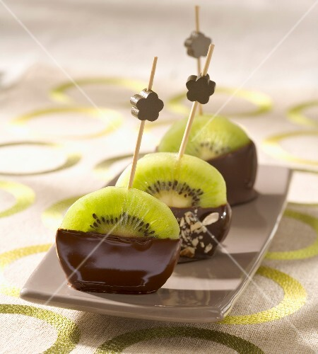 Sliced kiwi and chocolate delicacies