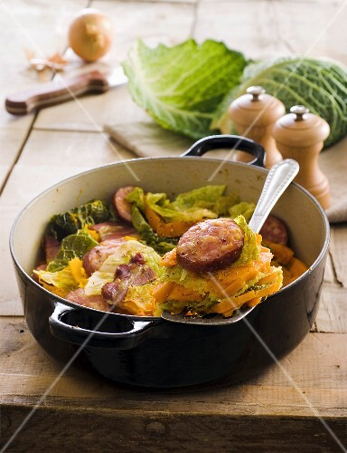 Pumpkin,cabbage and Morteau sausage hotpot