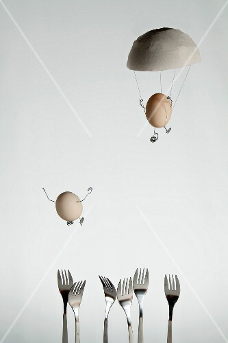 Egg jumping with a parachute
