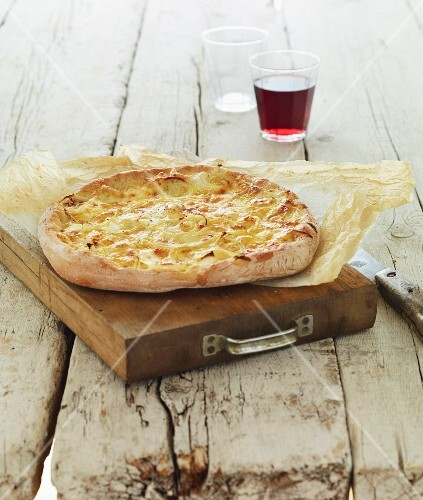 Pizza-style cream and onion Focaccia