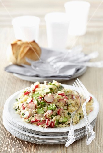 Quinoa tabbouleh with broad beans,radishes and seaweed