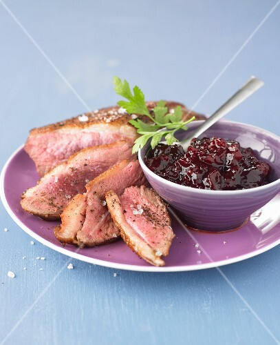 Duck magret with sour griotte cherry chutney