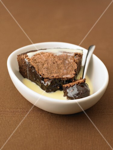 Chocolate fondant with custard
