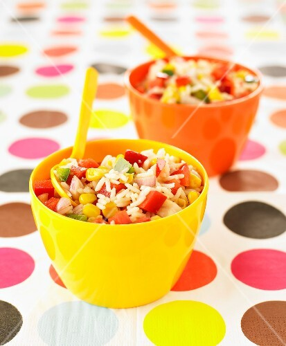 Rice salad with green and red peppers and sweet corn