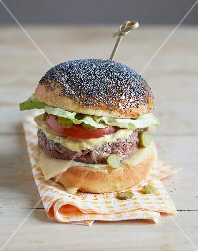 Hamburger in a poppyseed bun
