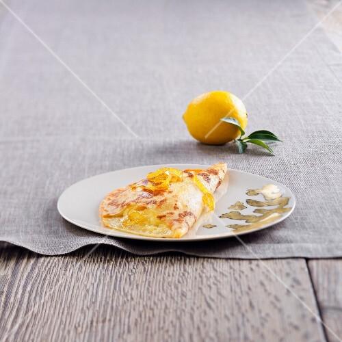 Crêpe soufflée au citron (gratinierte Crepe mit Zitrone)
