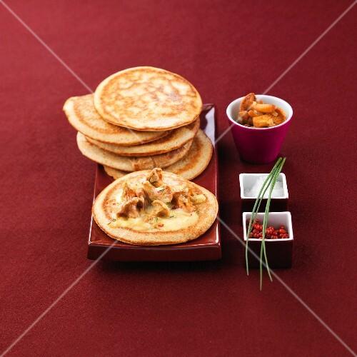 Pancakes with chanterelles