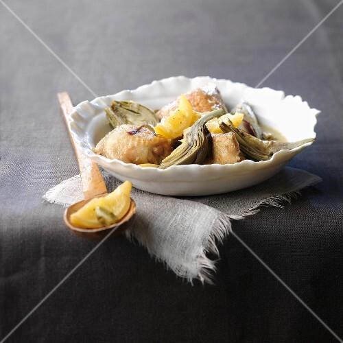 Chicken, artichoke base and confit citrus Tajine