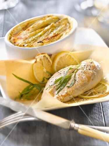 Turkey breast cooked in wax paper ,swiss chard gratin