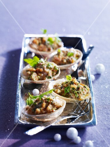 Dog cockle shellfish with walnuts and herbs