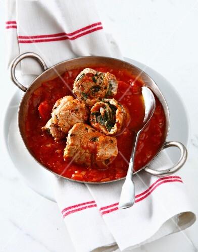 Veal Paupiettes in tomato sauce