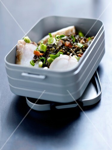 Cod and lentil Bento