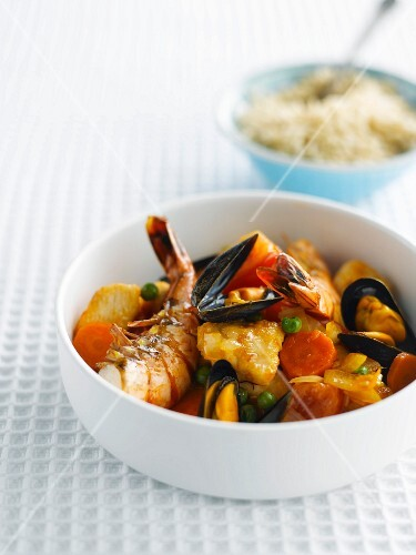 Mussel, king prawn, fish, chicken and vegetable stew