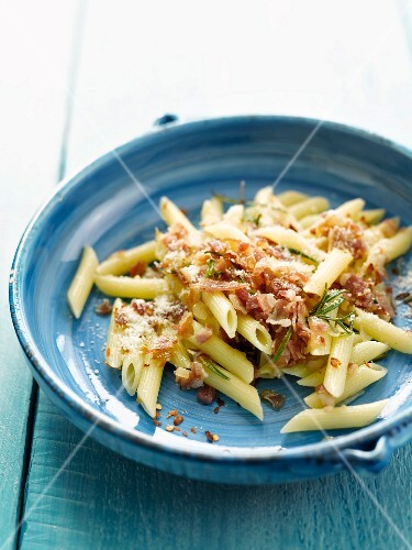 Penne with pancetta and rosemary