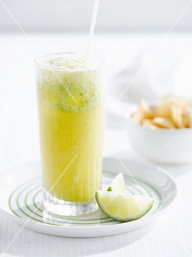 Lime and pineapple juice cocktail