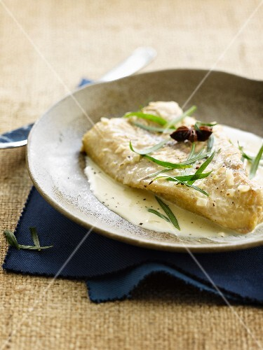Catfish fillet with tarragon and cider