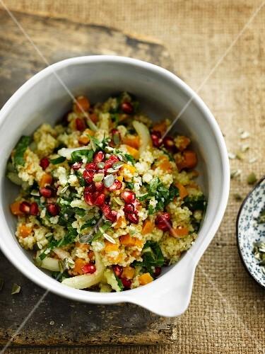 Sweetpotato, bok choy and pomegranate salad