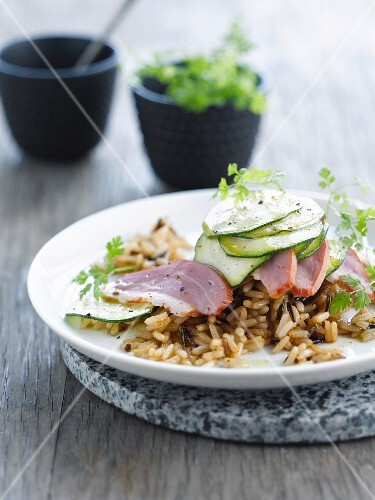Rice, duck and cucumber salad