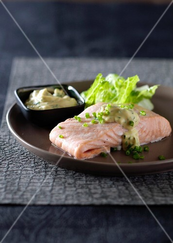 Poached salmon with herb mayonnaise