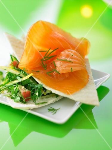 Smoked salmon with fresh herbs