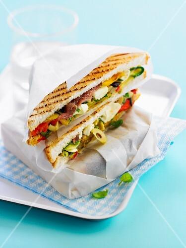 Mediterranean toasted sandwich