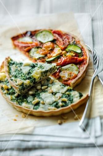 Spinach tart and tomato tart