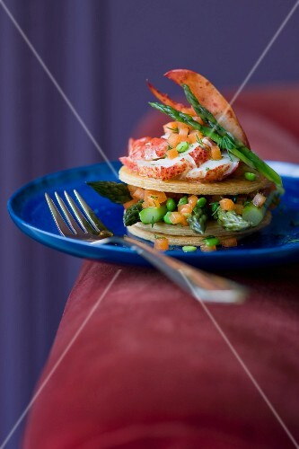 Lobster,broad bean,asparagus and tomato mille-feuille
