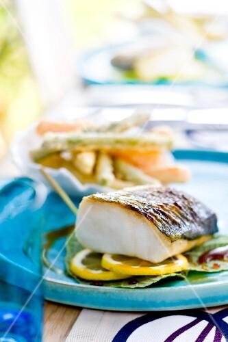 Cod with lemon,vegetable tempuras
