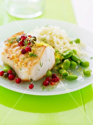 Cod with cranberries and capers, broad beans with lemon zests and basmati rice