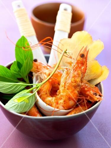 Ginger flavored shrimps