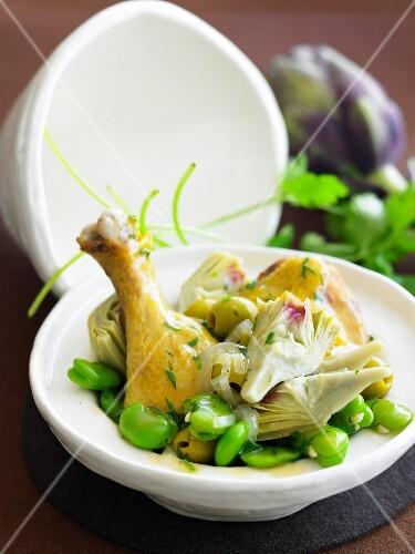 Chicken, broad bean, artichoke and green olive Tajine