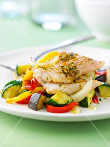 Cod with pesto and southern vegetables